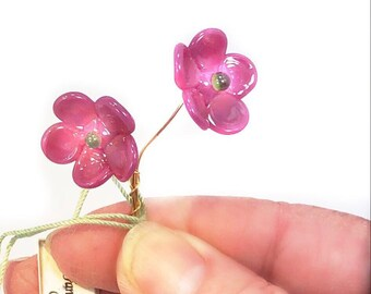 Old Rose Pink and Green Lampwork Flower Headpin Pair