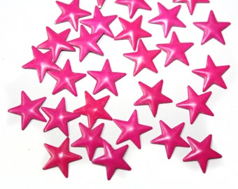 Pink Fuchsia Iron On Stars Studs Rivets Cabochons for Crafts and Nails Art