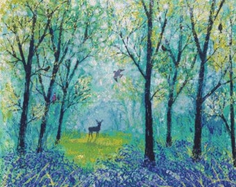 Woodland Cross Stitch Kit 'Beyond the Blue' Jo Grundy - Counted Needlecraft Kit with DMC materials - Bird and Tree Embrodery Kit, Modern Art