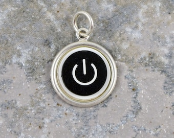 Power Up Pendant Only - Sterling Silver, Recycled, MAC, Apple Computer, Power Button Pendant