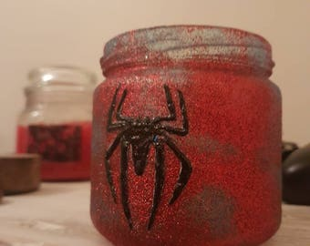 Handpainted upcycled jar storage pot. Glitter spider man blue and red.