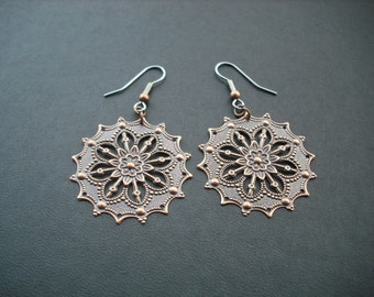 antique copper star flower stamped earrings