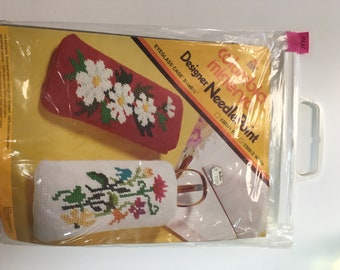 "14N Columbia Minerva Designer Needlepoint 1973 Eye glass case 3 1/2"" x 6 1/2"""