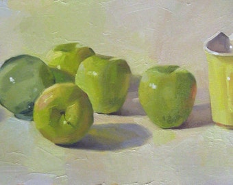 """Art painting kitchen decor """"Golden Delicious"""" orignial oil on canvas still life by Sarah Sedwick"""