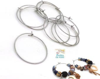 20 hoop earrings stainless steel = 10 pairs rings 25mm (BO38)