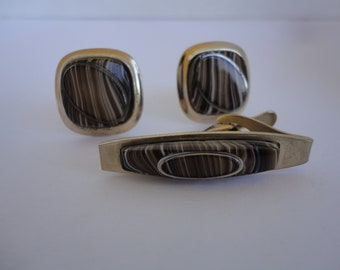 Brown Marbled Cuff Links And Tie Clip Set