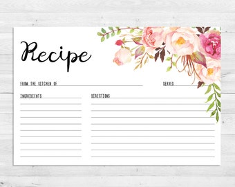 Recipe Cards, Bridal Shower, Boho Recipe Card, Watercolor, Floral, Printable, Instant Download, Recipe Card