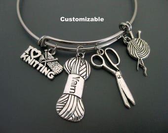 Knitting Bracelet / Knitters Bangle / Expandable Bangle  / Adjustable Charm Bracelet  /  Yarn / Scissors Bangle / Spool / Knitting Jewelry