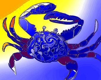 Colourful Crab Pop Art Digital Download