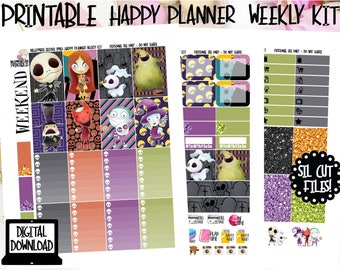 Kawaii Nightmare Before Christmas Printable Weekly Kit for Happy Planner, Printable Planner Stickers with PDF, JPEG & Silhouette Cut Files