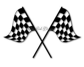 Crossed Checkered Flag SVG File, PDF DXF, eps, ai, png, jpg for Cameo  svg File for Cricut & other electronic cutters