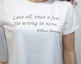 Shakespeare-Zitat Liebe Vertrauen ein paar falsch auf None Screenprinted Tshirt Liebe Valentinstag Romantik