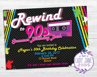 90s Birthday Invitation