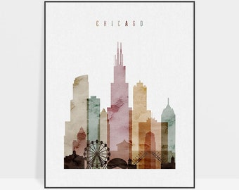 Chicago skyline, Chicago art print, Chicago wall art poster, watercolor art, Illinois cityscape, travel poster, home decor, ArtPrintsVicky.