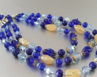 Large Heavy Blue Glass beaded Necklace Champagne Foil Filigree