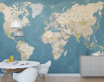 World Map temporary wall mural / Political map removable wallpaper / Globe self adhesive wall mural M6654