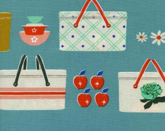 Picnic and Food Fabric - Picnic by Melody Miller for Cotton and Steel - Picnic Baskets Blue - Fabric By The Half Yard