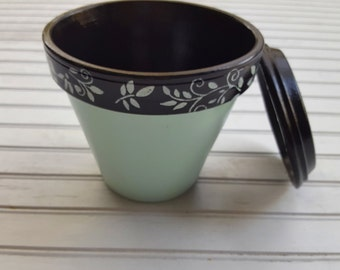 Painted Flower Pot - Black and Blue - Garden Decor - Boho Decor