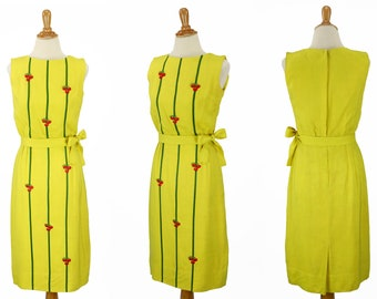 Vintage 1950s Bright Yellow Wiggle Dress Size XS