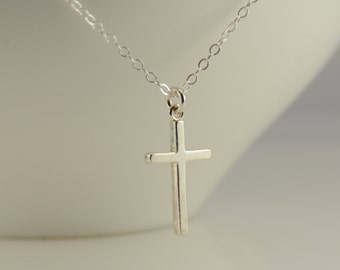 Sterling Silver cross necklace. Small silver cross necklace. Simple cross necklace. Cross pendant.