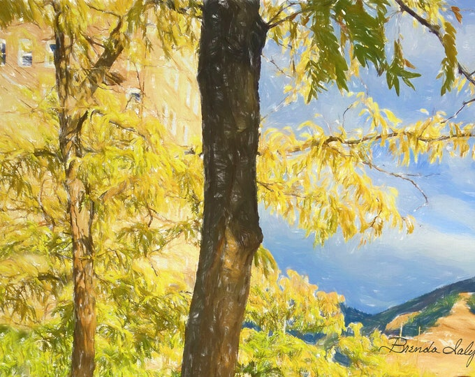 Landscape of Mountains and Trees in, print on Fine Art Paper or Canvas, By artist Brenda Salyers