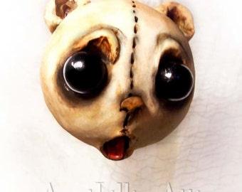 Teddy Bear Christmas Ornament - Creepy Cute - Christmas Bear - MADE TO ORDER -