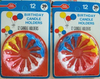 Betty Crocker (R) Birthday Candle Holders / Two Packages / 24 Holders / Vintage Old Stock