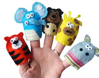 Jungle Animal Finger Puppets / Tiger / Elephant / Monkey / Giraffe / Hippo / Children's Animal Felt puppet / Kids / Baby Toys - 5