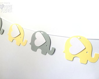 Pastel Elephant Garland Yellow & Light Gray. Baby shower, high chair, birthday party, bunting, banner, dessert table. First birthday party