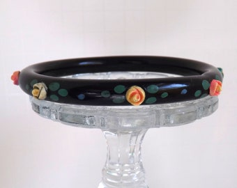 Art Deco celluloid bangle bracelet over dyed resin washed with pastel applied rose flowers hand painted 1930s