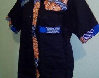 Black Linen Kitenge design Top