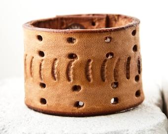Brown Leather Bracelet Cuff Made From Vintage Belt Rainwheel