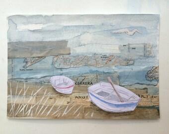 Two boats - original art, mixed media painting