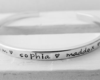 Personalized Sterling Cuff Bracelet Mothers Bracelet Sterling Silver Jewelry Hand Stamped Cuff Gift for Her Mothers Day Gift Name Bracelet