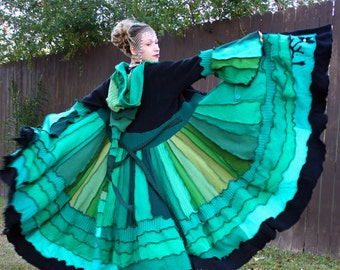 Recycled Sweater Coat with a Medieval Liripipe Hood by SnugglePants- Custom- Shades of Green