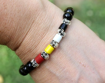 Four Directions Obsidian Bracelet - Silver Or Gold Skull Bracelet - Native American Unisex Stretch Bracelet - Grounding Volcanic Gemstone