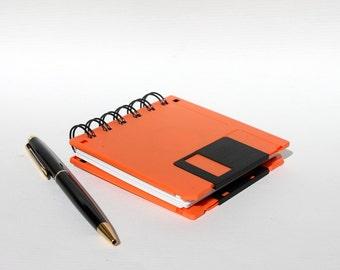Floppy Disk Notebook - Geek Book - Recycled Computer Diskette - Orange