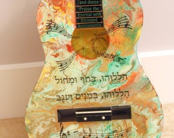 Original Judaica Art Guitar -Halelu - Praise the Eternal Jewish Art.  Judaica Wall Hanging.  Judaica Home Decor  One of a Kind. # G-004