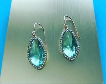 Erinite Glass and Cubic Zirconia Earrings