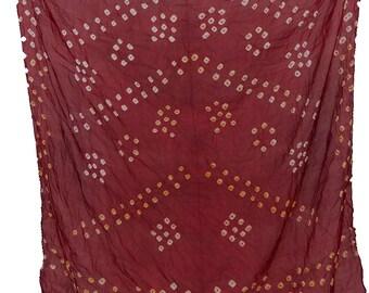 Hand-Printed Art Silk Scarf Mandala Solid Color, 41 x 41 Inches (Maroon)
