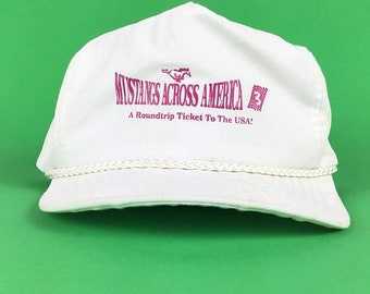 On Sale Now Vintage Mustangs Across America 3 A Roundtrip Ticket To The USA White Baseball Cap Hat Adjustable Adult Size
