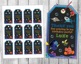 Finding Dory Thank You Tags, Finding Dory Favor Tags, Finding Dory Gift Tags, Finding Dory Tags, Finding Dory Tags Printable