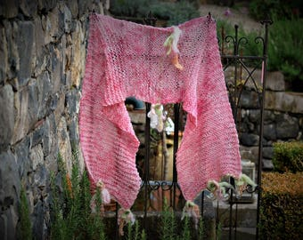 Fairytale hand knitted soft merino scarf with felted flowers and leaves, Gitzer