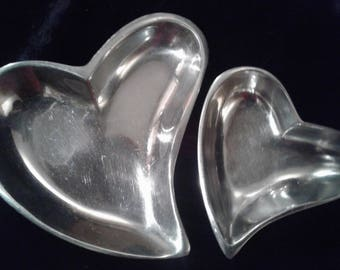 Silver Heart Two Set Jewelry Coin Valentine Trays