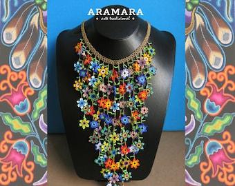 Huichol Flower Necklace and Earrings Set JGO-0064 Mexican necklace, Mexican Jewelry, Huichol Necklace, Huichol Jewelry, Statement Jewelry