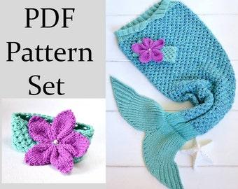 KNITTING PATTERN for Mermaid Tail Blanket for Children 6 sizes Digital File Instant Download