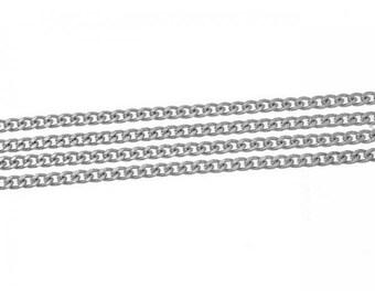 1 m 10x9mm matte silver curb chain