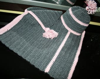 Hand crocheted baby poncho size 3 months to 2 years and matching Hat