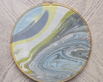 Marbled embroidery hoop art