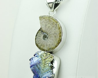 GENUINE CANADIAN PLACENTICERAS Ammonite Fossil Bismuth Crystal 925 S0LID Sterling Silver Pendant + 4mm Snake Chain & Free Shipping mp167